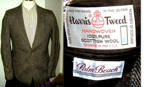 Vtg HARRIS TWEED Herringbone 2 Button Brown Scottish Wool Jacket! Sz 42L! EUC!