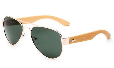 Bambus Sonnenbrille Gold Metall Holzrahmen Aviator Klassisch Rund Stil UV 100%