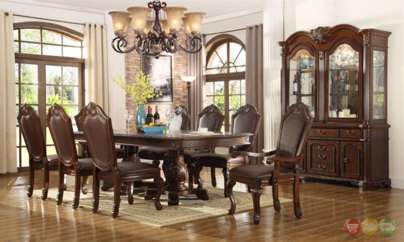 Chateau Traditional 9 Piece Formal Dining Room Set Pedestal Table & Chairs