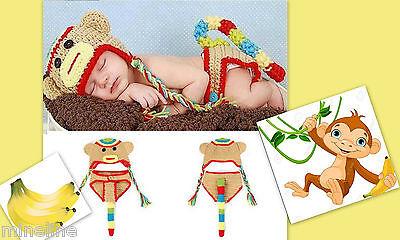 ★★★ NEU Baby Fotoshooting Kostüm Kleiner Affe beige bunt 2Tlg. 0-6 Monate ★★★Y