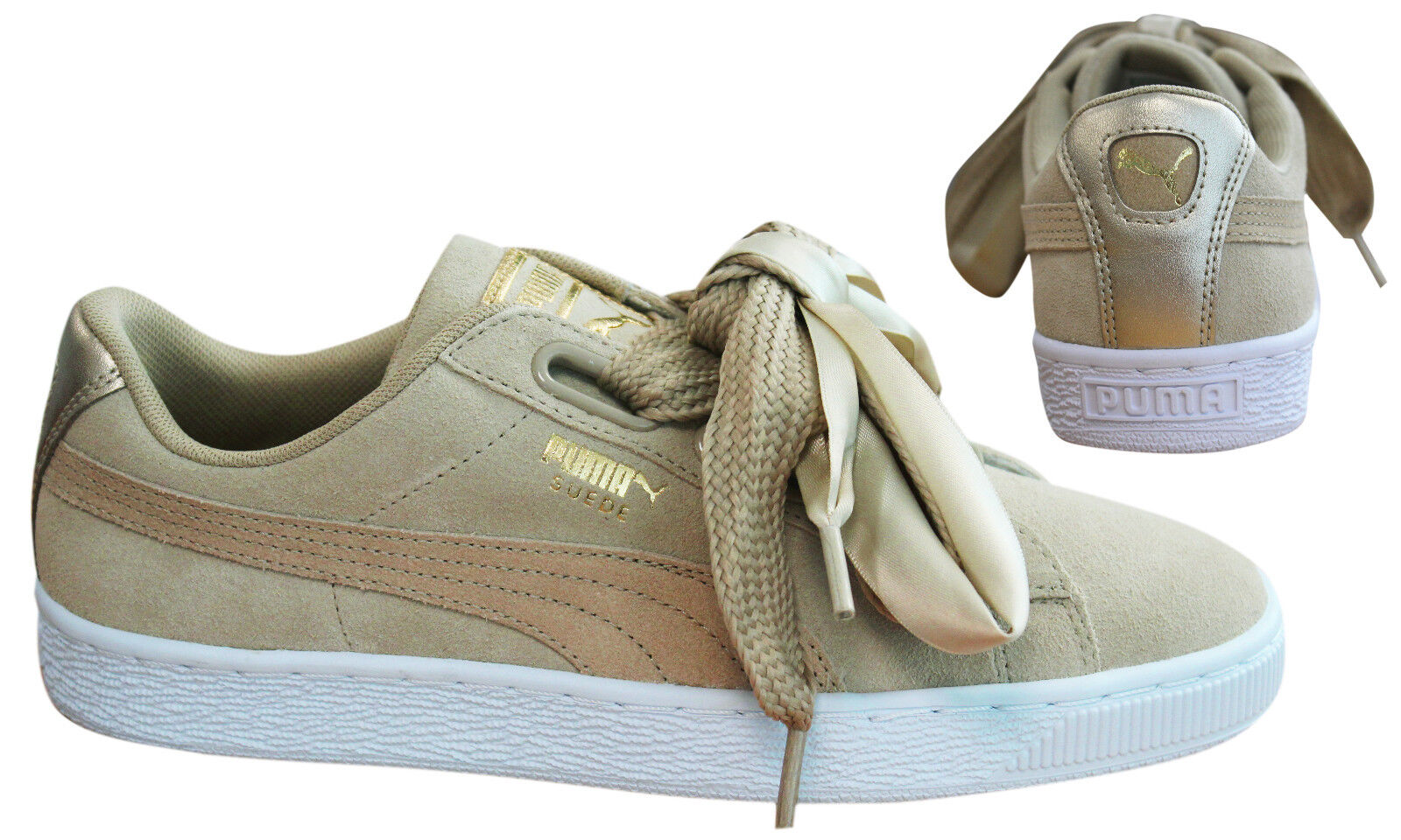 5357230c2b0fbb Puma Suede Heart Safari Womens Trainers Lace Up Beige Leather 364083 ...