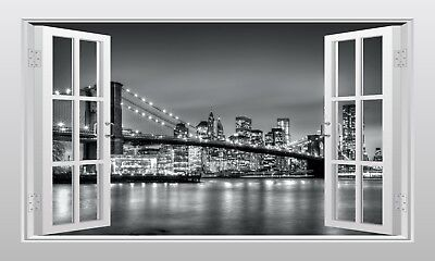 Brooklyn Bridge New York 3D Window Scape Wall Art Sticker - VPRNT1047