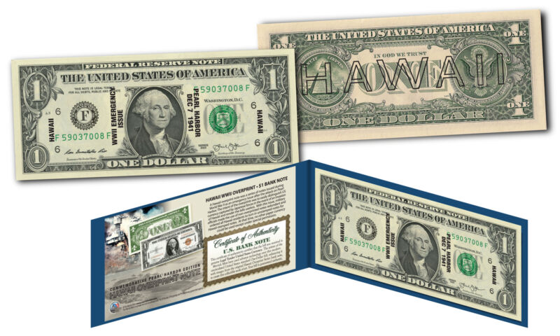 HAWAII Reproduction Overprint WWII Emergency Pearl Harbor Legal Tender $1 Bill