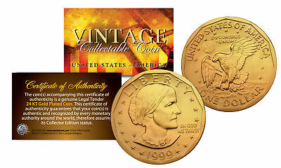 Susan B. Anthony $1 Dollar Coin Authentic 24K GOLD PLATED w/ Coin Capsule & COA (Anthony Dollar Coin)