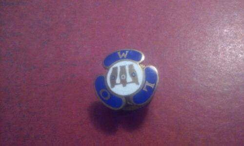 "Rare Vintage Order of Owls ""000"" Enamel on Brass Lapel Hat Pin Royal Blue &White"