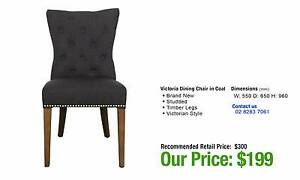 VICTORIA DINING CHAIR IN COAL COLOUR FABRIC Ultimo Inner Sydney Preview
