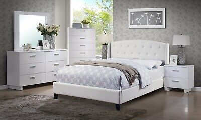 New California King Size Bed Dresser Mirror NS Contemporary Bedroom 4p set White California King Set Dresser