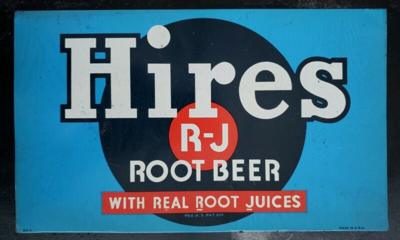 Vtg Hires Root Beer Tin Tacker Advertising Sign Gas Oil Soda 1950