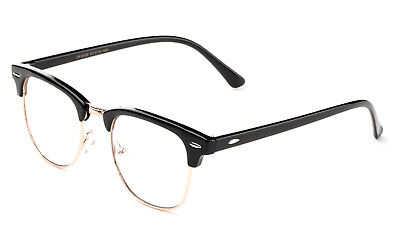 Classic Clear Lens Glasses Black Gold Aviator Retro Eyewear Men Women (Aviator Glasses Women)