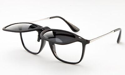 Polarized Flip Up Sunglasses Black Clip On 100% UV Protection Fishing Men Women (Sunglasses Clip Ons)
