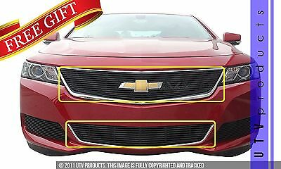 GTG 2014 - 2018 Chevy Impala 2PC Gloss Black Overlay Billet Grille Grill Kit