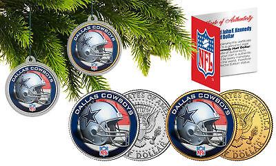 DALLAS COWBOYS Colorized JFK Half Dollar 2-Coin Set NFL Christmas Tree Ornaments ()
