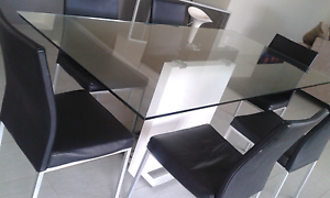 Dining Table Six Seater Glass Top with Feature Base Carramar Wanneroo Area Preview