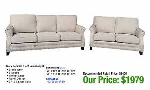 MARY MEDIUM SET: THREE PLUS TWO SEATER LOUNGES IN HEMP OR GREY Granville Parramatta Area Preview