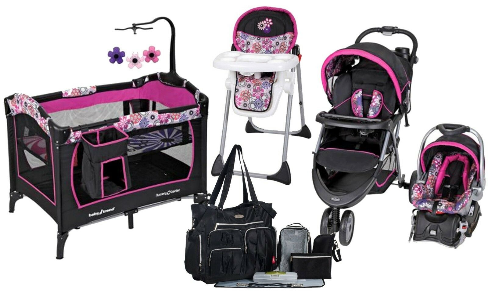 Baby Trend Stroller with Car Seat Playard High Chair Diaper