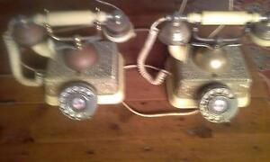 2 Xold style Brass Antique look Dial Phones. Brass, GC. Port Macquarie Port Macquarie City Preview