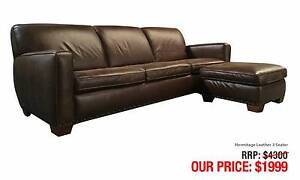 HERMITAGE BROWN LEATHER THREE SEATER LOUNGE + OTTOMAN/CHAISE Leumeah Campbelltown Area Preview