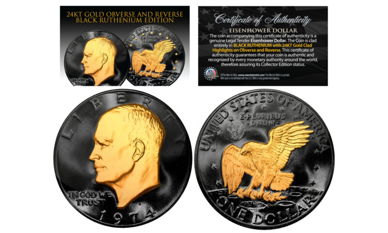Black RUTHENIUM Eisenhower IKE Dollar Coin with 24KT Gold Clad Features 2-SIDED
