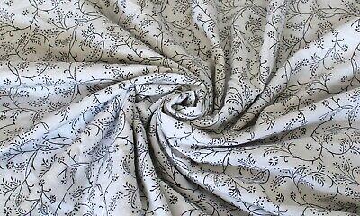 5 Yard Indian Cotton White Soft Fabric Jaipuri Hand Block Print Fabric Floral