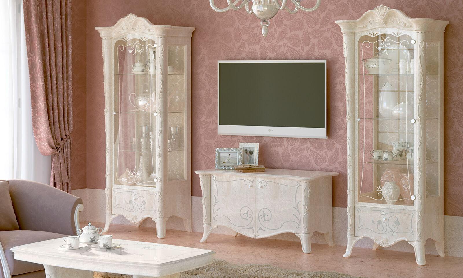 exklusive wohnzimmer guilietta farbe wei perlmutt aus italien stilm bel klassik eur. Black Bedroom Furniture Sets. Home Design Ideas