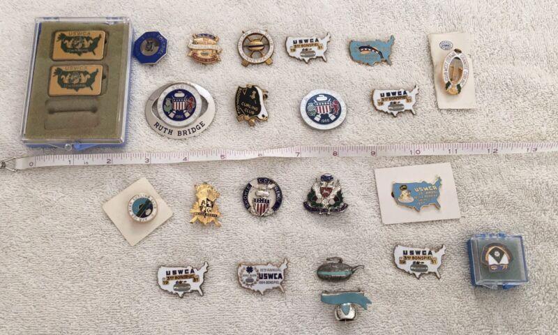 Vintage Historic Antique Bonspiel Curling Pin Lot Collection of 23 Pins Pinbacks