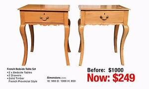 FRENCH PROVINCIAL BEDSIDE TABLE SET Leumeah Campbelltown Area Preview