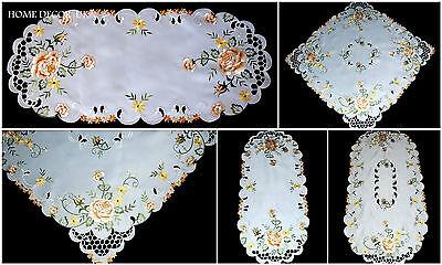Gold Roses Tischdecke, Tischläufer, Deckchen mit Bestickter Blumen und Blätter ()