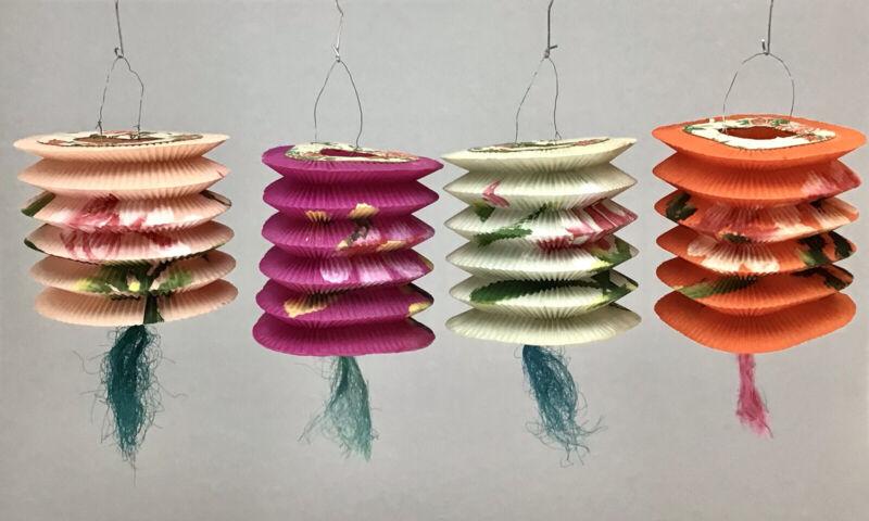 Chinese Japanese Paper Lanterns Set Of 4 Vintage Hand Painted -Hong Kong 002