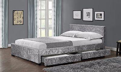 4 Drawer Storage Bed Frame Double King Crushed Velvet