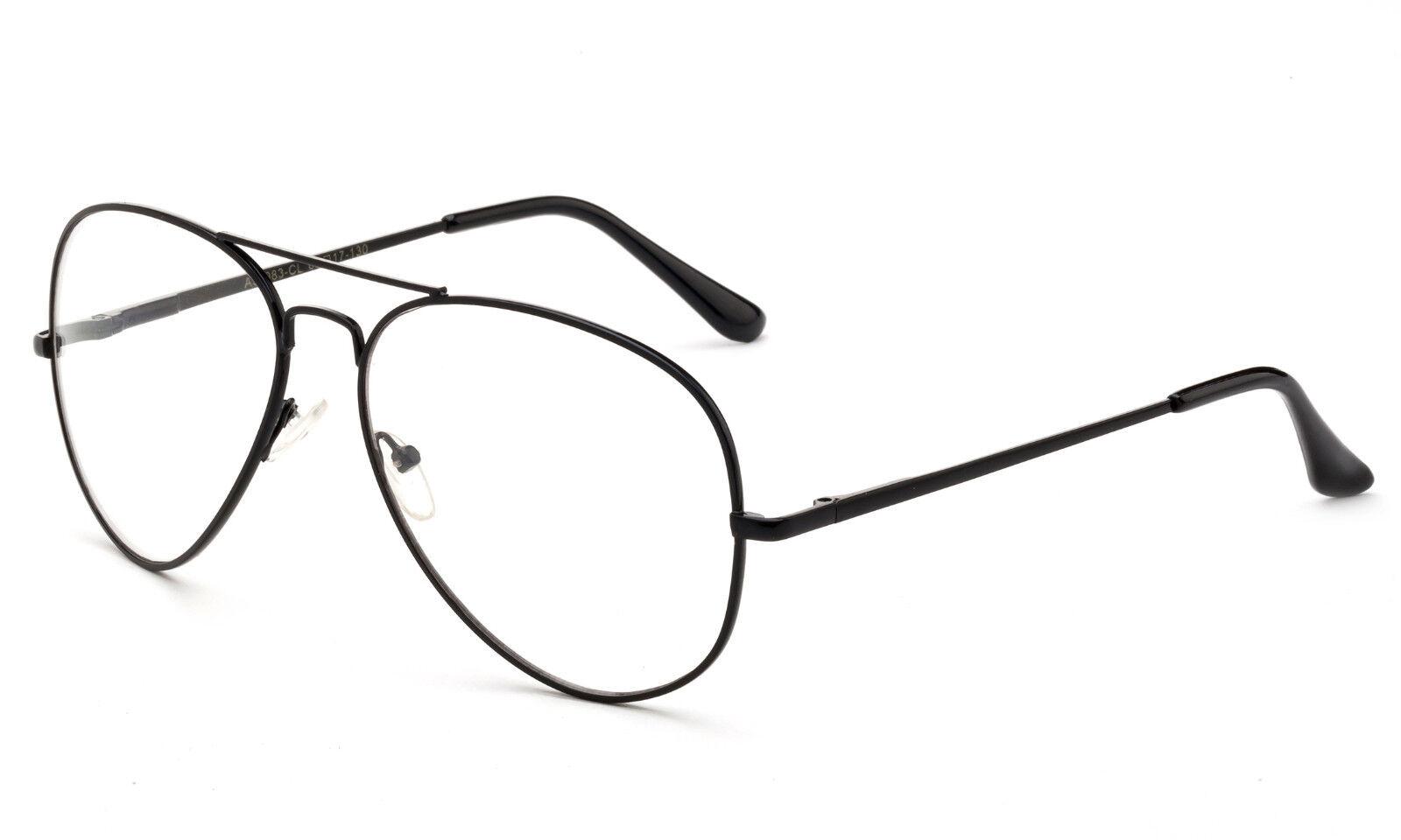Schwarz Klassisch Durchsichtige Linse Aviator Brillen Falsch Federscharniere