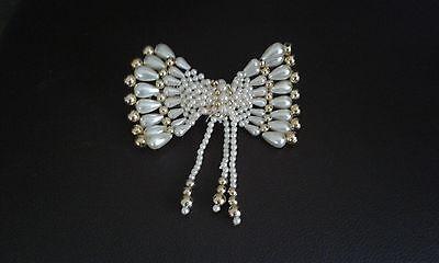 Haarspange / Haar Schmuck mit hübschen Mode Perlen Schleife Creme/Gold   NEU