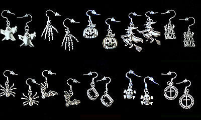 BUY 3 GET 1 FREE~HALLOWEEN DANGLE EARRINGS~925 STERLING SILVER HOOK~YOU PICK - Halloween Earrings
