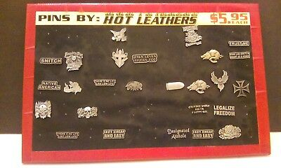 Lot of (26) Hot Leathers Pins on Retail Display Collectible Biker