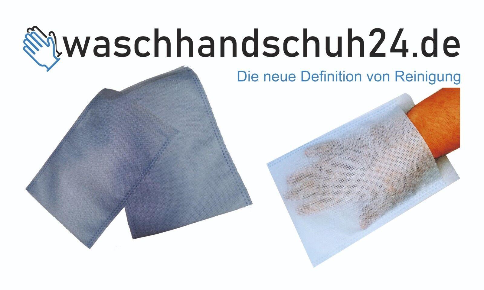 100 Waschhandschuhe Einmal-Waschlappen Pflege/Baby/Senioren - Made in Germany