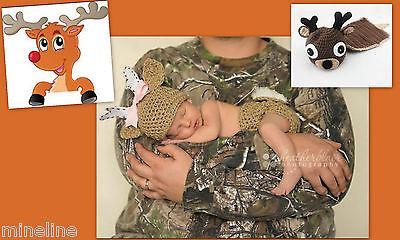 ★★ NEU 2Tlg. Baby Fotoshooting Kostüm Kleines Rentier 0-6 Monate - Festliche Rentier Kostüm