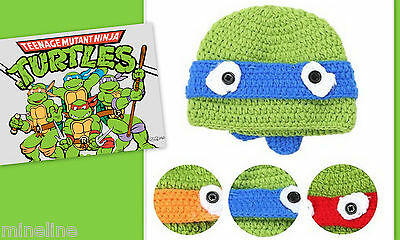 ★★★NEU Baby Fotoshooting Kostüm Ninja Turtel Mütze Farbwahl Gr.0-12 Monate★★Nr.B