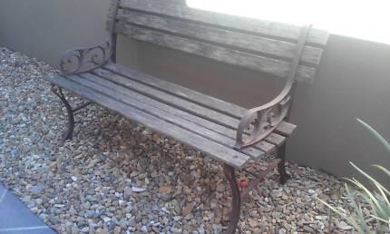 Garden Bench Seat. Cast Iron Ends.
