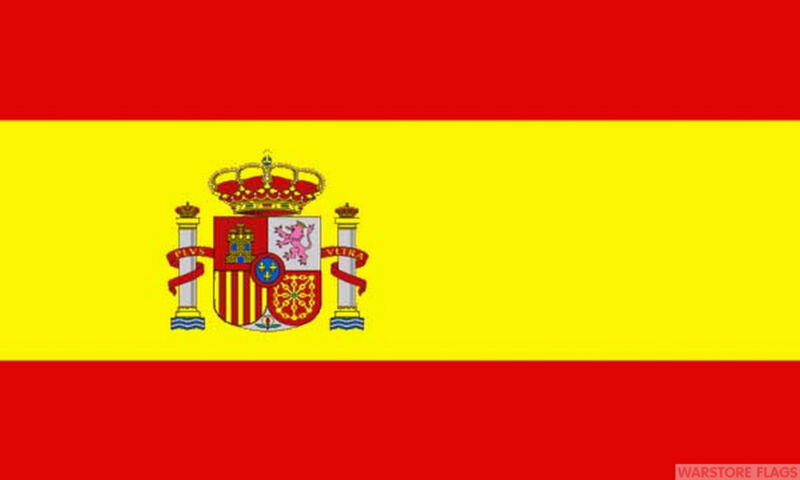 "SPAIN WITH CREST 18"" x 12"" FLOOR STANDING FLAG & WOODEN BASE SPANISH"