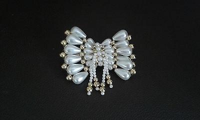 Haarspange / Haar Schmuck mit Mode Perlen kleine Schleife Creme/Gold   NEU