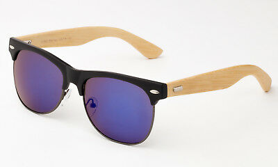 Bamboo Flash Mirror Sunglasses Eyewear Wooden Bamboo Frame Glasses Casual (Wooden Eyewear Frames)