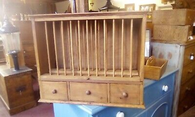 Rustic pine plate rack  with drawers