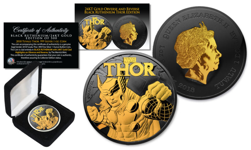 2018 1 oz  Pure Silver Tuvalu THOR BU Marvel Coin BLACK RUTHENIUM with 24KT Gold