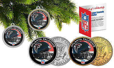 ATLANTA FALCONS Colorized JFK Half Dollar US 2-Coin Set NFL Christmas Ornaments ()