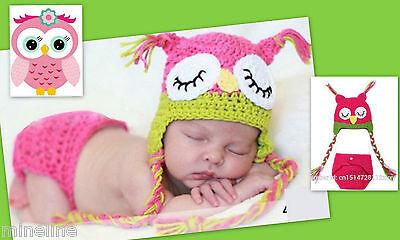★★★NEU Baby Fotoshooting Kostüm kleine Eule pink 2 Tlg. 0-6 Monate★★★Nr.B