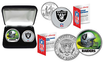 Oakland Raiders Display (OAKLAND RAIDERS Officially Licensed NFL 2-COIN U.S. SET w/ Deluxe Display Box )