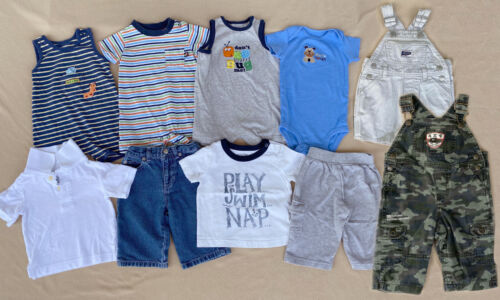 Mixed Lot Of 10 Toddler Boy Overalls Shirts Pants Rompers Jeans Size 6 Months