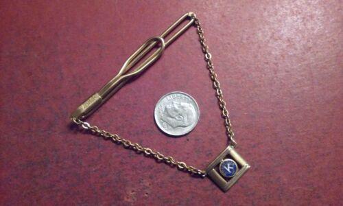 Vintage SWANK KIWANIS CLUB Gold-Tone Tie Bar Clasp w/ Hanging Chain Crest Shield