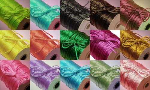 2mm X 100 Yard Rattail Satin Polyester Trim Cord Chinese Knot
