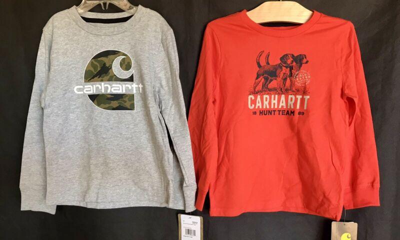 CARHARTT Shirt Lot x 2 - Long Sleeve Gray & Orange Graphic Tops Boys Size 3T NEW