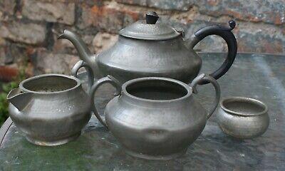Arts & Crafts Style Craftsman Sheffield Hammered Pewter Bakelite Tea Set